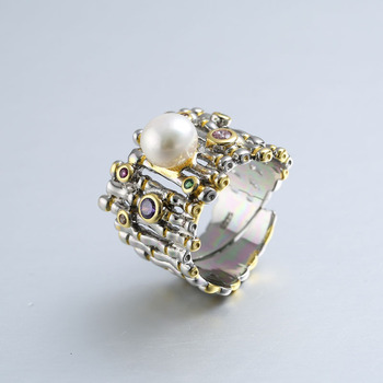 d3e0fc7f6f96 Anillos de perlas de circonita de Plata de Ley 925 anillos de perlas  barrocas de agua dulce naturales ajustables de oro para mujer 925 regalo de  joyería