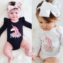 Милый кружевной комбинезон с длинными рукавами для новорожденных; комбинезон с рисунком единорога для маленьких девочек; детская одежда