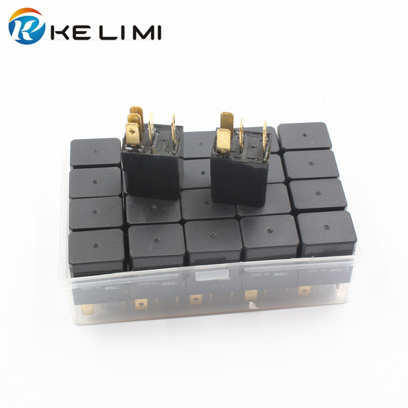 KE LI MI DC 12V 30A Amp 4 Pins 5 Pins Universal Relay Car Electronics Sealed Heavy-duty impact molded Relays