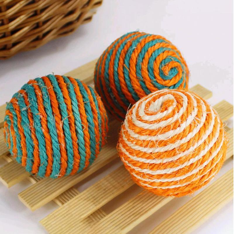 1PC Lovely Large Cat Toy Natural Sisal Aroma Catch Ball Interactive Toys with Cat Knot Toys Chew Scratch Catch Dog Toy 3
