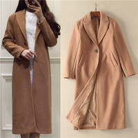 2018 New Arrival Vintage One Button Oversized Wool Winter Warm Trench Coats Abrigos Mujer Solid Camel