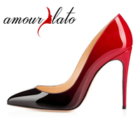 Amourplato Women's High Heel Pumps Pointed Toe 100mm Closed Toe Gradient Color Slip On Party Evening Dress Shoes Red Black
