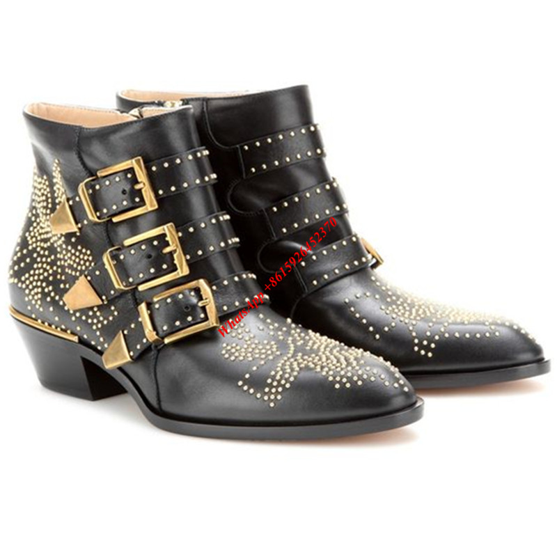Metal Buckles Women Boots Gold Studded Covered Chunky Heels Black Soft  Leather Women Shoes Pointed Toe Ankle Boots Zip Side - Online Get Cheap Black Ankle Boots With Gold Studs For Women