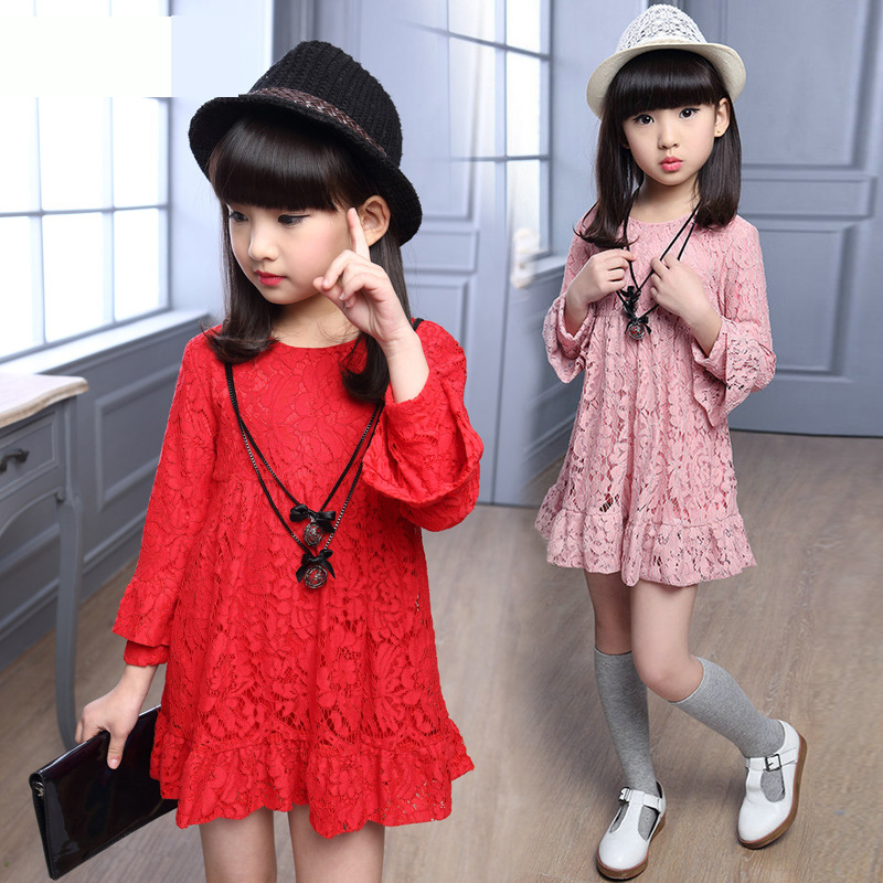 Girls Lace Dress Long Sleeve High Waist A-line Above Knee Dress Teens Girls Vestidos Pink / Red / Black Girl Dress Kids Clothes kids girls flamingo a line dress bady girl mini dress cotton casual short sleeve striped print dress kid robe children vestidos