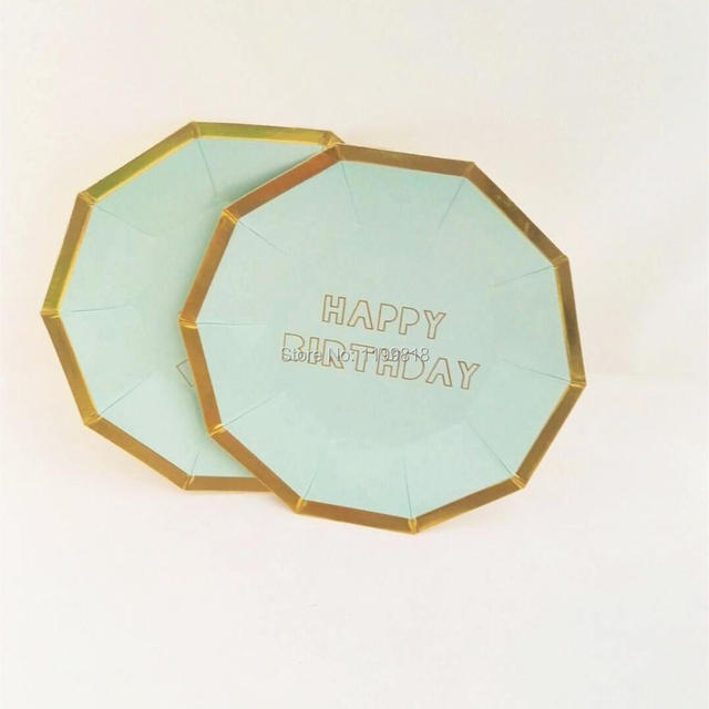 Baby shower Mint and Gold foil Happy Birthday Paper Plates Party favor dinner tableware for Halloween & Baby shower Mint and Gold foil Happy Birthday Paper Plates Party ...