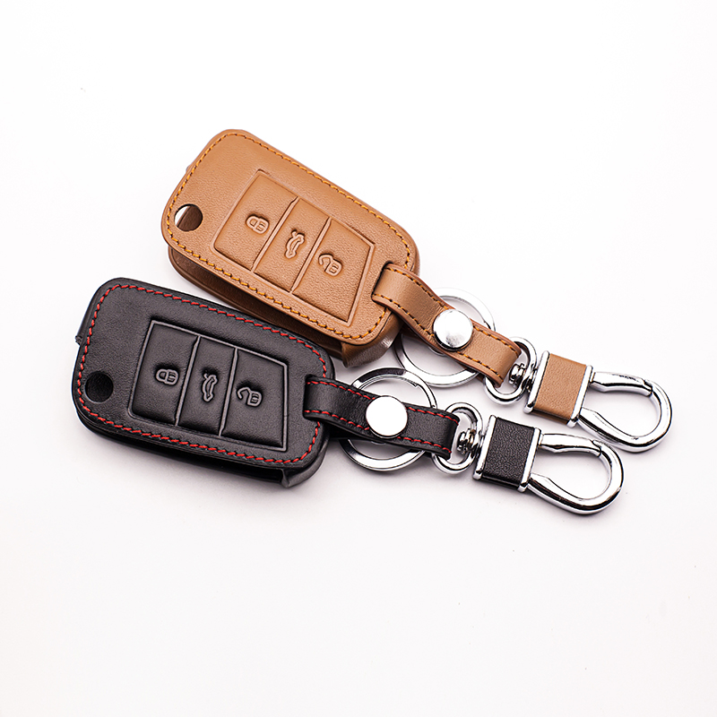 Classic Design Car Leather Key Cover Case Suitable for Volkswagen Golf Case 7 GTI MK7 POLO For Skoda Octavia A7 keys accessories