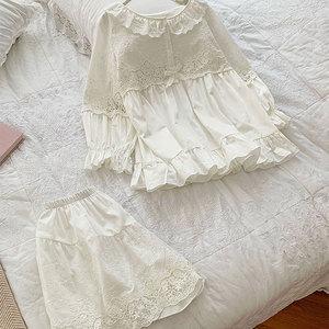 Image 4 - Summer Womens Lolita Flower Embroidery Pajama Sets Tops+Shorts.Vintage Ladies Girls Pyjamas set.Victorian Sleepwear Loungewear