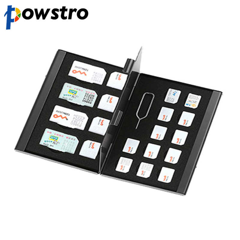 21 in 1 Aluminum Portable SIM Micro Pin SIM Card Nano Memory Card Storage Box Case Protector Holder Black
