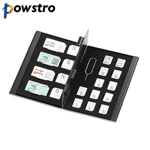21 in 1 Aluminum Portable SIM Micro Pin SIM Card Nano Memory Card Storage Box Case Protector Holder Black(China)