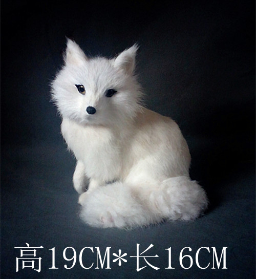 simulation cute sitting white fox 16x13x19cm model polyethylene&furs fox model home decoration props ,model gift d323