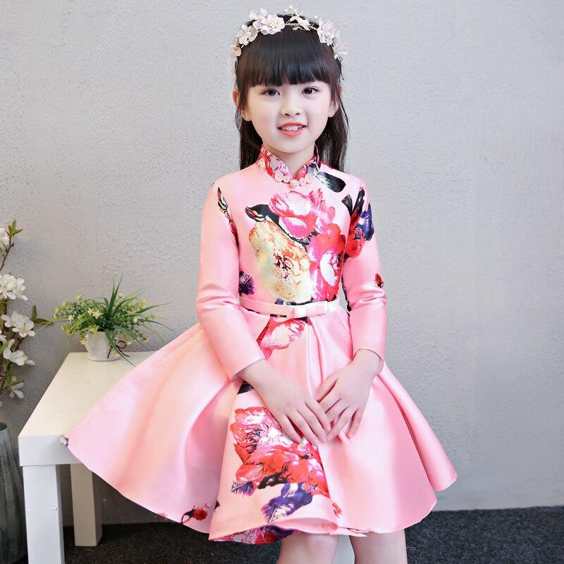 2018 Chidren Girls New Chinese Traditional Printing Flowers Pattern Cheongsam New Year Dress Kids Birthday Party Spring Dress cheongsam floral pattern bodycon dress