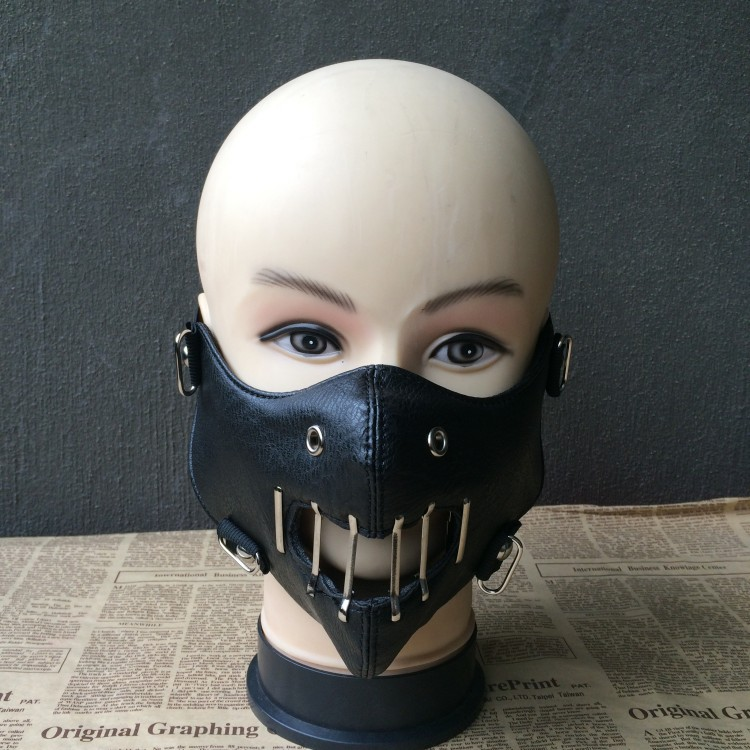 Black Leather Unisex Steampunk Rivet Mask Vintage Gothic Punk Cosplay Mask Hollow Out Half Face Protective Rock Masks