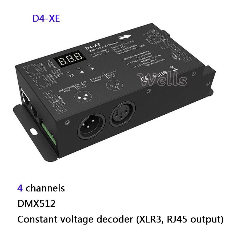 4 Channel Constant Voltage or Constant Current DMX512 & RDM Decoder with digital display 4CH DMX512 led Decoder controller 4channel 4ch pwm constant current dmx512 rdm led decoder with digital display xlr3 rj45 port dc12v 48v input setting dmx address