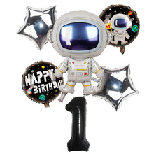 6Pcs Birthday Balloons Black Number Foil Balloons 1st Birthd