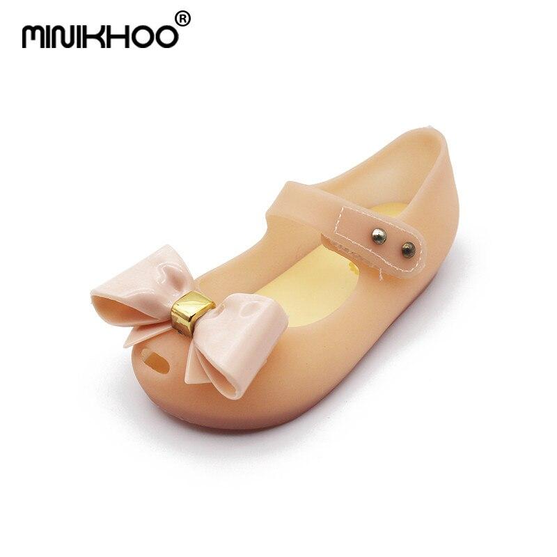 Mini Melissa Bow Tie Girls Jelly Sandals 2018 Summer New Children Melissa Jelly Sandals Soft Girl Shoes Wear-resistant Sandals