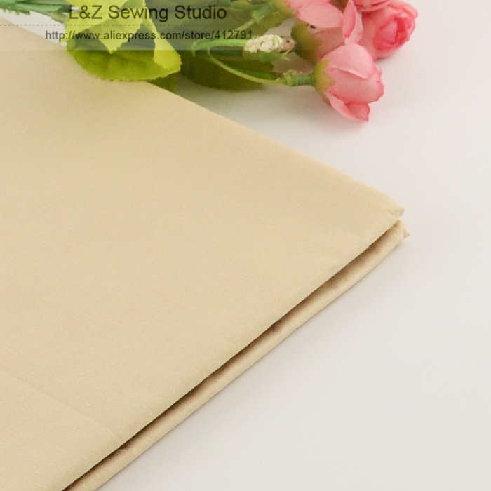 Booksew 50cmx160cm / piece Light Khaki Bomuldsstof til Tilda Doll Cloth Patchwork Quilting Sengetøj Home Textile Reactive Dyeing