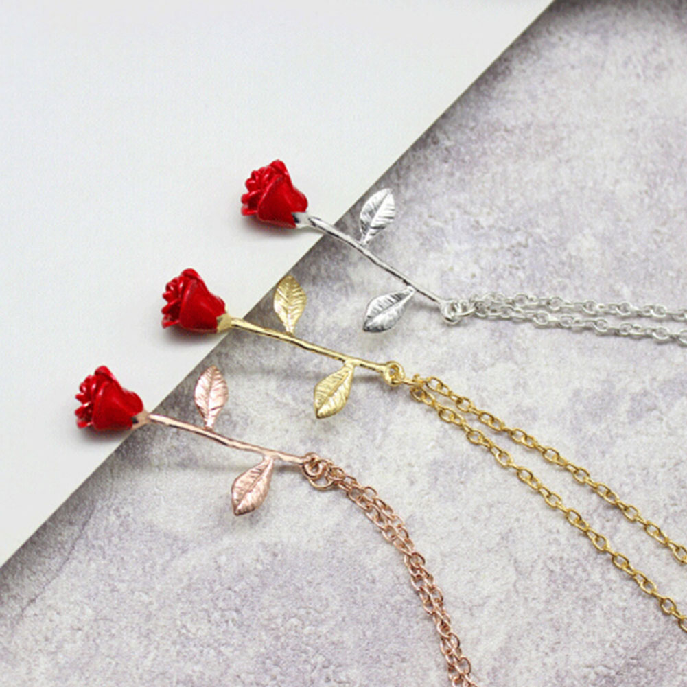Delicate Rose Flower Pendant Necklace Women Boho Jewelry Bridesmaid Gift Beauty And The Beast Choker Necklaces Maxi Collares