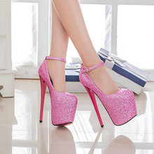 BIG SIZE 50.Women Pumps High Heels 20cm Bling Bling Round To