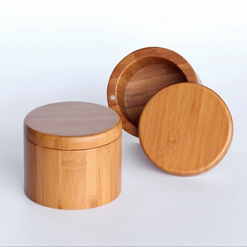 2Pcs Storage Boxes Salt Box Wooden Bamboo Storage Box With Magnetic Swivel Lid Container For Kitchen Storage Containers For Fo 3