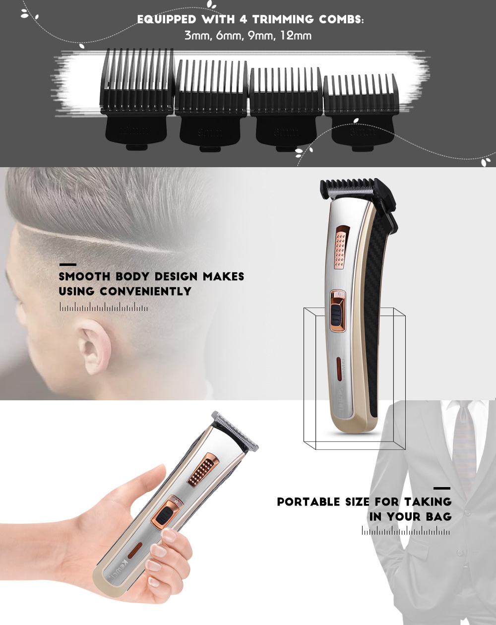 Kemei Km 5117 Professional Haircutting Clipper Rechargeable Electric