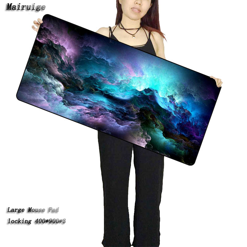 Mairuige Large Gaming Mouse Pad Blue Purple Cloud Space Waterproof Extended Lock Edge Computer Desk Notbook For CSGO Dota 2 LOL