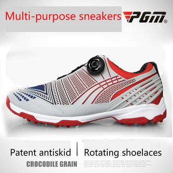 Golf Shoes Men Pgm Waterproof Sports Shoes Knobs Buckle Shoes Mesh Lining Breathable Anti-slip Sneakers for Male