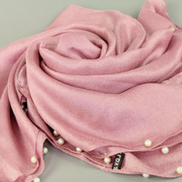 Muslim Islamism women young girls multi colorful solid plain hijabs with pearls cotton linen beads elegant scarf turban caps