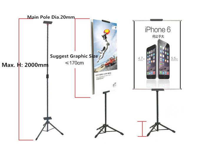POP Metal Tripod Bedframe Hanging Banner Up Display Telescopic Holder Poster Stand Baking Dull Polish 100sets Good Packing
