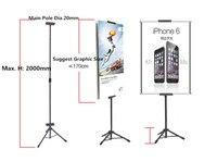 POP Metal Tripod Bedframe Hanging Banner Up Display Telescopic Holder Poster Stand Baking Dull Polish 50 sets Good Packing
