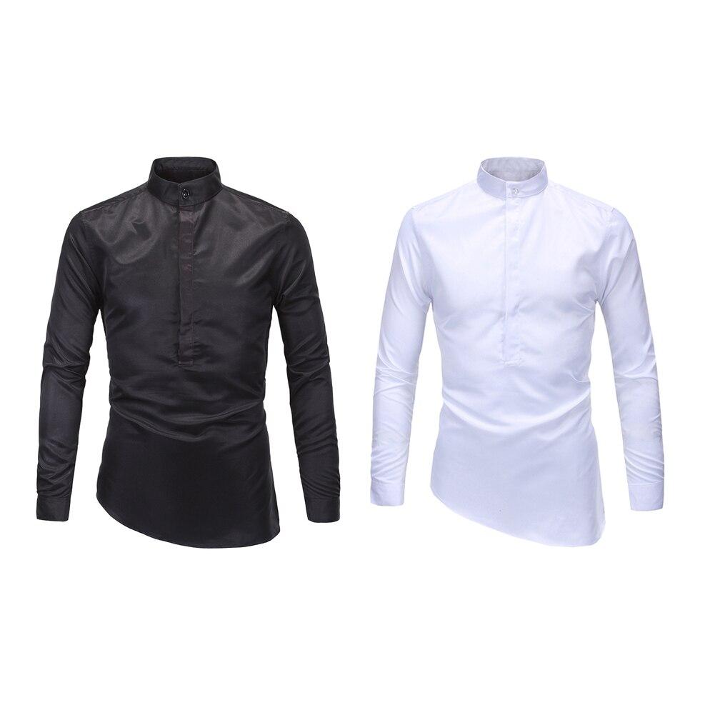 Men Shirt Mandarin Collar White Custom Promotion-Shop for ...