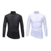 Men S Shirts Long Sleeve Mandarin Collar White Men Shirt Plaid Striped Mens Shirts Fashion Custom