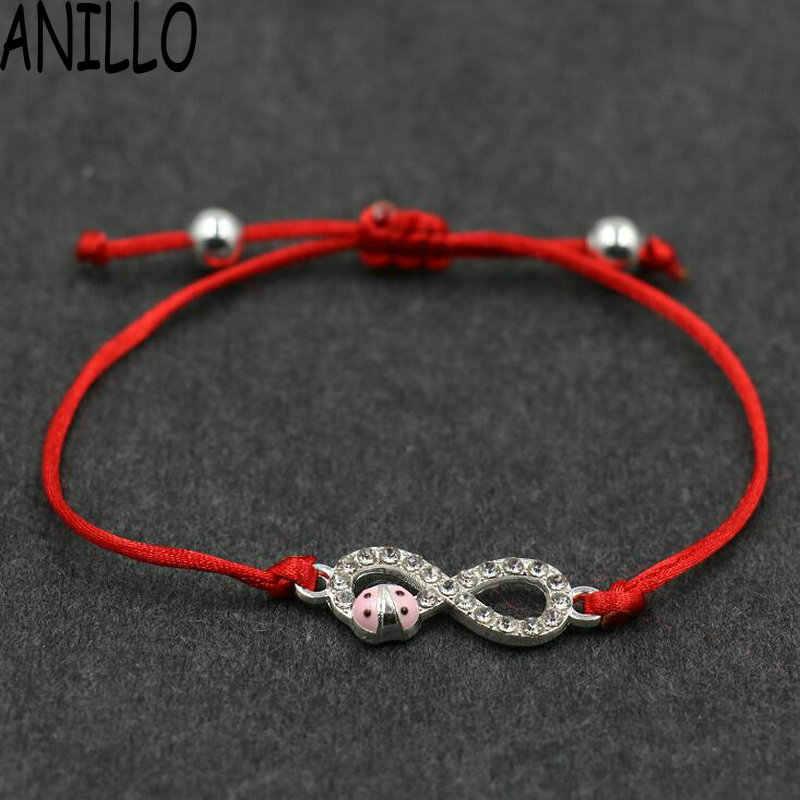 ANILLO 女性赤ロープ糸文字列のブレスレット幸運編組キュービックジルコニアブレスレット調節可能なチャームジュエリー
