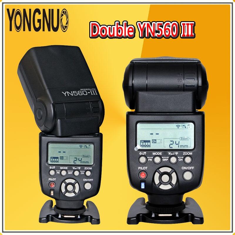 YONGNUO 2x YN560 III 2.4G Flash sans fil Speedlite YN560III lampe de poche pour Canon Nikon Pentax Panasonic Olympus appareils photo reflex numériques