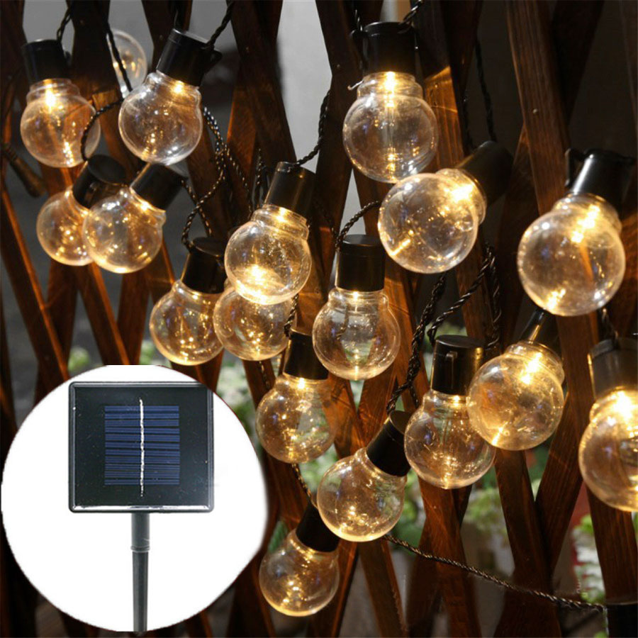 Thrisdar 6.5M 30 LED Clear Globe Bulbs Solar Led String Fairy Light Outdoor Solar Globe  ...