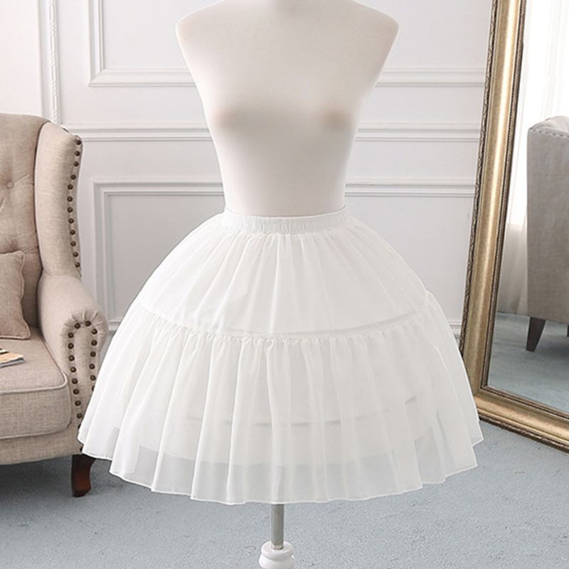Women Girls Multi Layer Cosplay Lolita Underskirt Elastic Waistband Single Steel Loop Bridal Wedding Dress Petticoat White