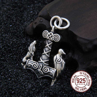 Real 925 Sterling Silver Viking wolf and raven pendant necklace with really leather and iron box as gift