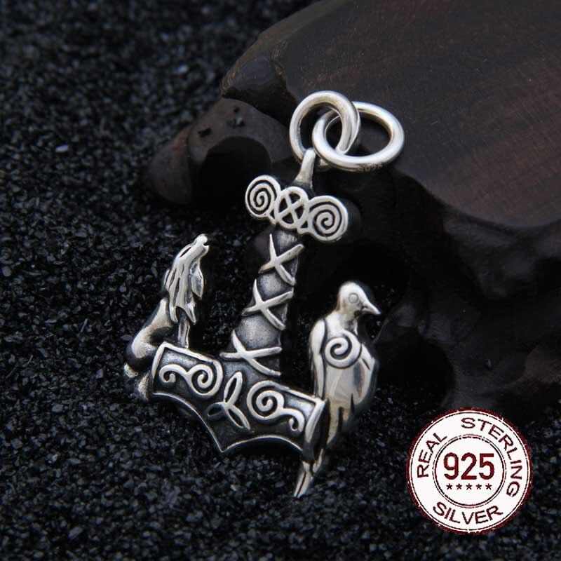 Véritable collier pendentif Viking loup et corbeau en argent Sterling 925 avec vraiment cuir et boîte en fer comme cadeau
