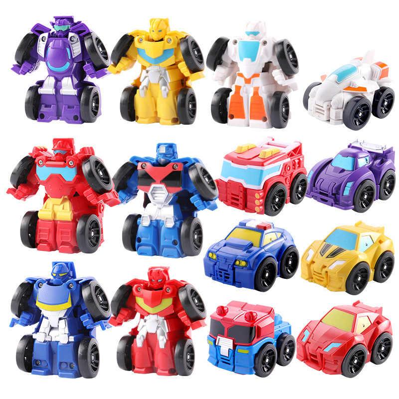 ילדים שינוי רובוט רכב אנימה פעולה איור צעצוע פלסטיק מיני עיוות רובוט קלאסי חינוך צעצוע לילדים ילד מתנה