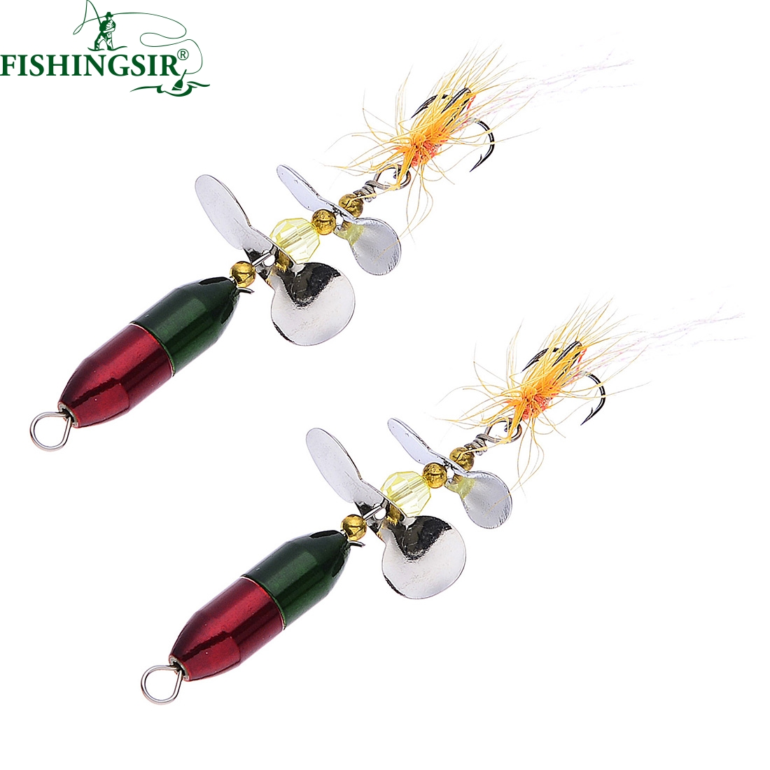 2pcs lot long casting spinner bait metal fishing lure w for Ice fishing trout lures