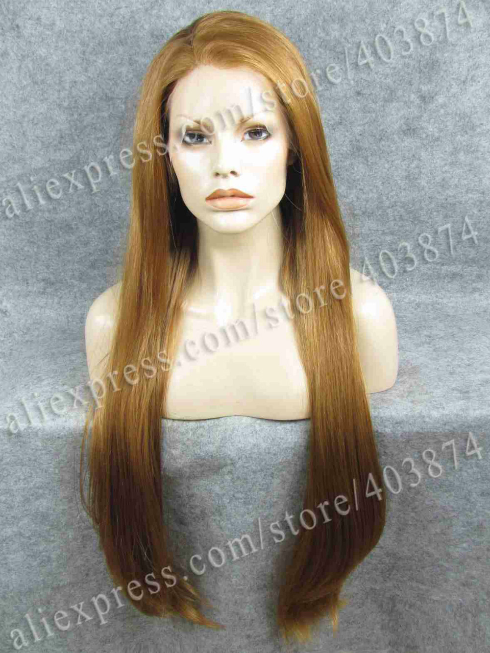 ФОТО Extra Long Celebrity Honey Blonde Silk Straight 30inch Synthetic Lace Front Wig