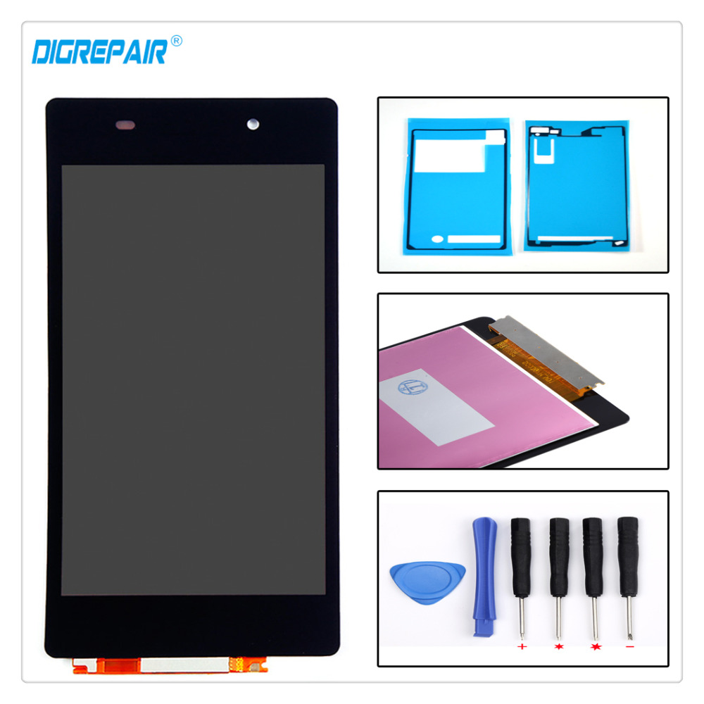 Black For Sony Xperia Z2 L50W D6502 D6503 LCD Display Digitizer Touch Screen Assembly Replacement Kit