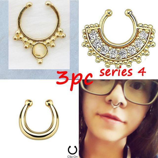 Women Fake Nose Clip Hoop Ring 3 pcs