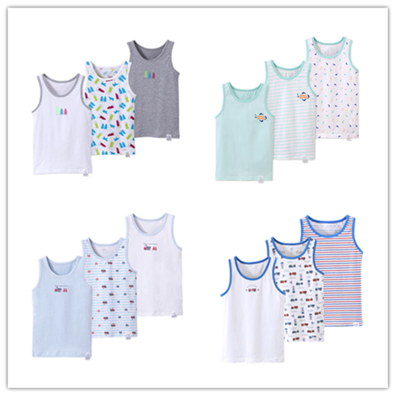 Kids Tanks Tops Sleeveless Vests Cotton Cartoon Undershirt Boys Tanks Vests Boy Sleep Shirt Children Underwear Clothing 7010
