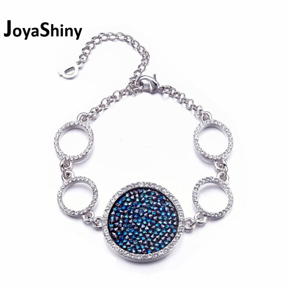 Joyashiny  Pave Crystal Round Charm Bracelets For Women Gift White Gold Color Circle Bracelet Jewelry Crystals From Swarovski