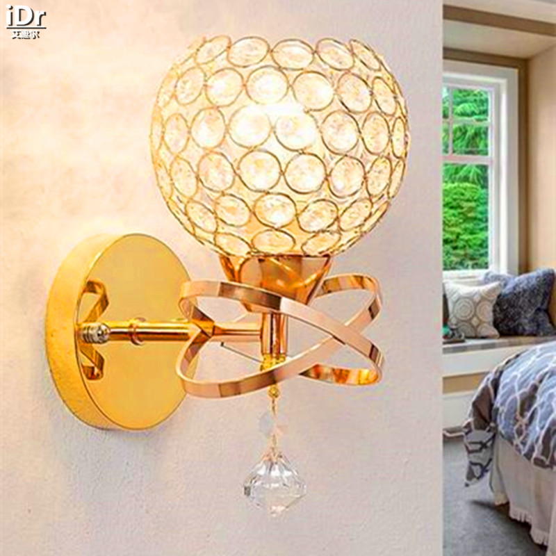 LED Crystal modern minimalist fashion creative bedside lamp warm bedroom bedside lamp Wall Lamps  OLU-0044 with modern minimalist led hanging lamp bedside lamp button switch and creative bedroom wall lamp m