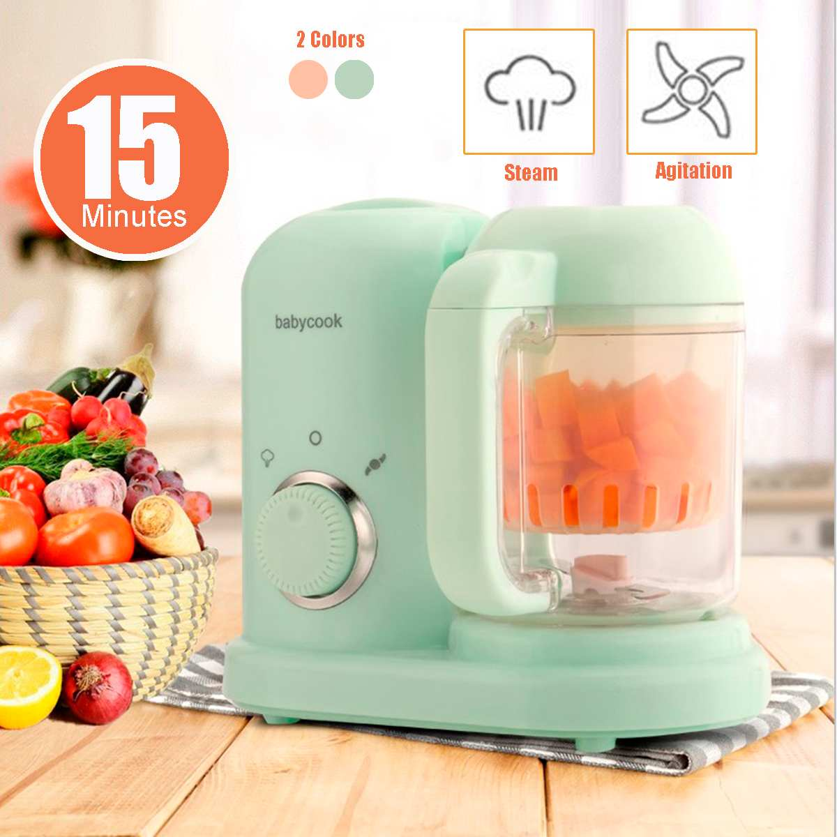 Warmtoo Baby Food Cooking Maker Steamer 220V 50Hz Multifunction Mixing Grinder Blenders Processor 190ml 2 Colors Shatterproof