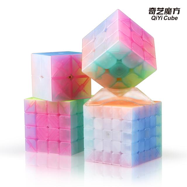 New qiyi jelly color cube magic 2×2 Warrior W 3x3x3 4x4x4 5×5 keychain Triangle Masterphominx SQ1 Educational Toys for kid