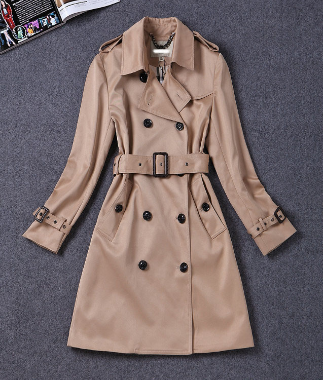 GUESOD 2018 Women Trench Female Medium-Length Outerwear Spring Autumn Turn-Down Collar Double-Breasted Belt Female Trench