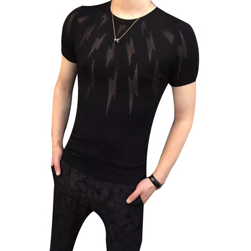 2018 summer flower lace shirt embroidery see through shirt men chemise homme marque luxe mesh transparent shirt short sleeve shi ...