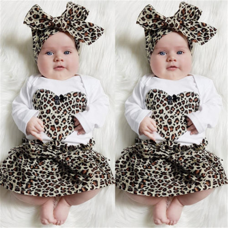 Newborn Baby Girl Clothes Sets Baby Bebes Leopard Romper+Tutu Skirt+Headband 3pcs 2017 New Arrival Outfit Kid Girls Clothing Set 2016 spring girls clothes girls clothing sets new arrival female child flower print o neck pullover short skirt set baby twinset